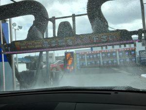 乗ったままで洗車