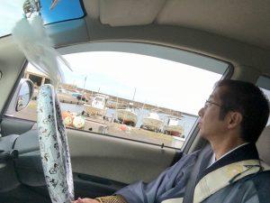 車窓から酒の津港を望む