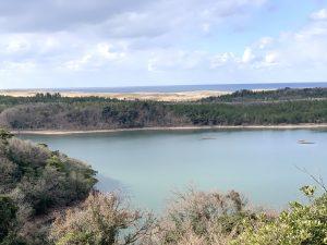多鯰が池の向こうに砂丘が