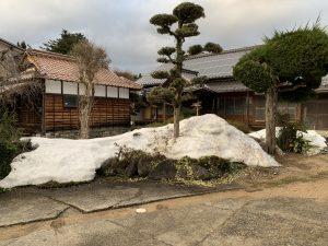 小さくなった雪の山