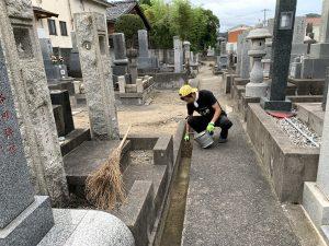 墓地も掃除